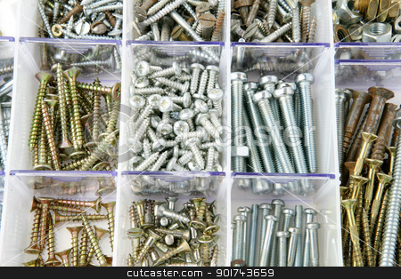 Assortment of screws stock photo, Assortment of screws by photography33