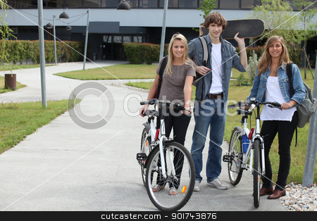 students with bikes and skateboard stock photo, students with bikes and skateboard by photography33