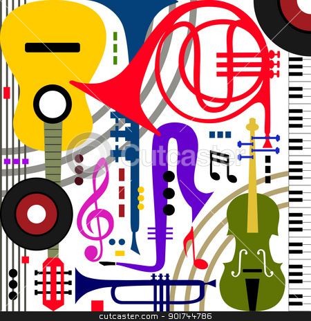Abstract musical instruments stock vector clipart, Abstract colored music instruments on white, full scalable vector graphic, change the colors as you like by Ela Kwasniewski