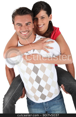 Man giving girlfriend piggyback stock photo, Man giving girlfriend piggyback by photography33