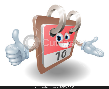 Desk calendar mascot stock vector clipart, Desk calendar cartoon character giving thumbs up sign  by Christos Georghiou