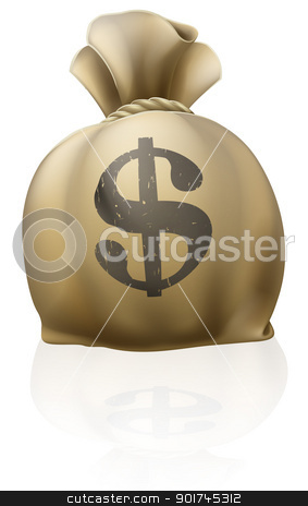 Dollar money sack stock vector clipart, A big money sack full of dollars with dollar sign by Christos Georghiou
