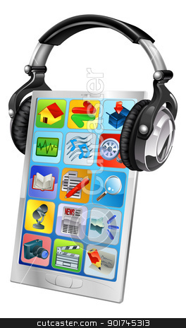 Mobile phone music headphones stock vector clipart, Concept illustration of a mobile phone wearing music headphones by Christos Georghiou