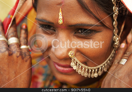 Indian woman stock photo, Portrait of a smiling India Rajasthani woman by szefei
