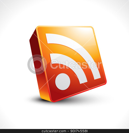 vector rss feed icon stock vector clipart, vector rss feed shiny 3d icon by pinnacleanimates