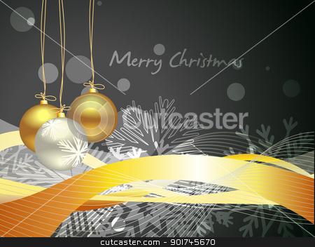 christmas balls stock vector clipart, vector christmas balls on dark background by pinnacleanimates
