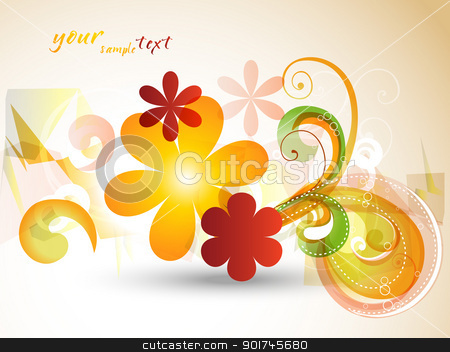 beautiful flower abstract stock vector clipart, beautiful flower abstract design eps10 art by pinnacleanimates