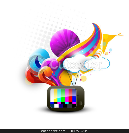vector tv abstract design stock vector clipart, abstract tv vector artistic design by pinnacleanimates