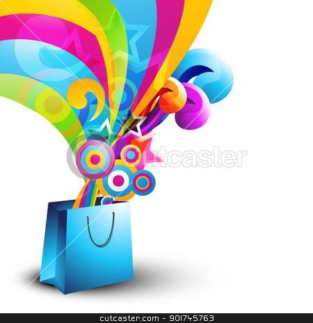 vector shopping bag stock vector clipart, stylish vector shopping bag design by pinnacleanimates