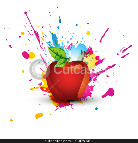 abstract colorful apple design stock vector clipart, abstract colorful abstract design art by pinnacleanimates