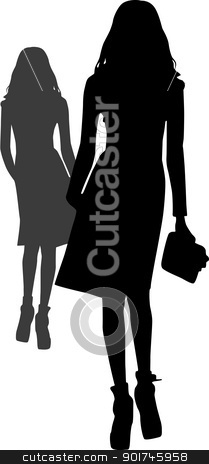 Silhouette fashion girls stock vector clipart, Silhouette fashion girls by Desislava Draganova
