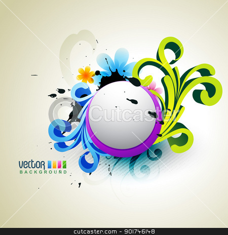 colorful vector stock vector clipart, stylish floral colorful artwork illustration by pinnacleanimates