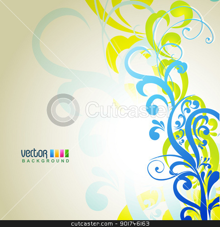 floral background stock vector clipart, floral background with space for your text by pinnacleanimates