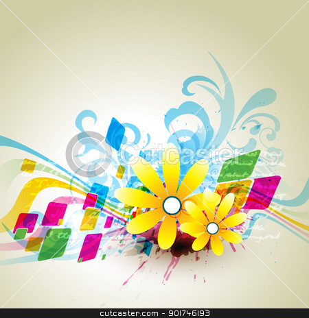 flower vector stock vector clipart, abstract grungy flower artwork. Eps10 vector by pinnacleanimates