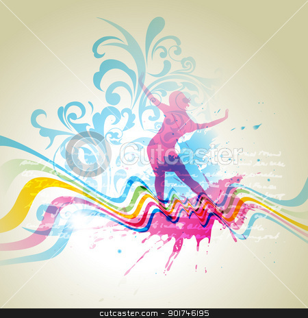abstract background stock vector clipart, vector girl dancing on abstract background by pinnacleanimates