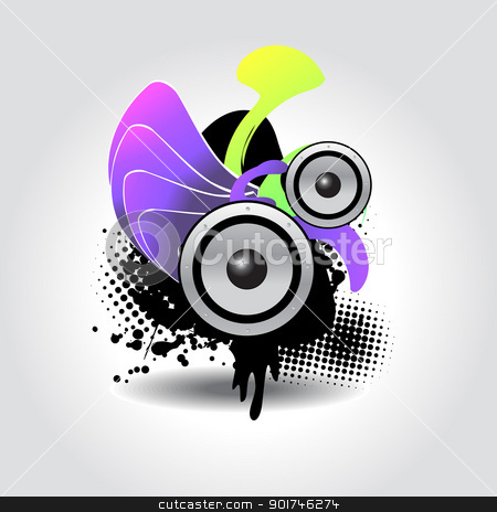 speaker abstract stock vector clipart, vector abstract illustration of speaker in colorful background by pinnacleanimates