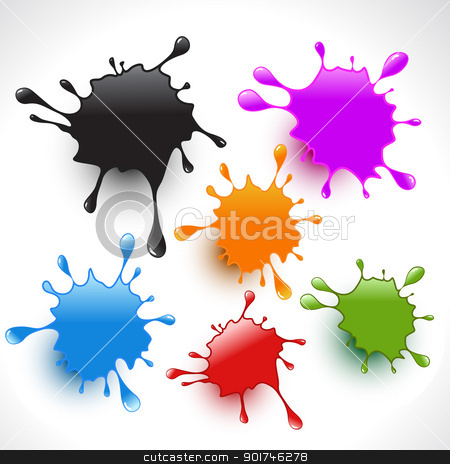 colorful paint splashes set 3 stock vector clipart, colorful paint splashes vector set 3 by pinnacleanimates