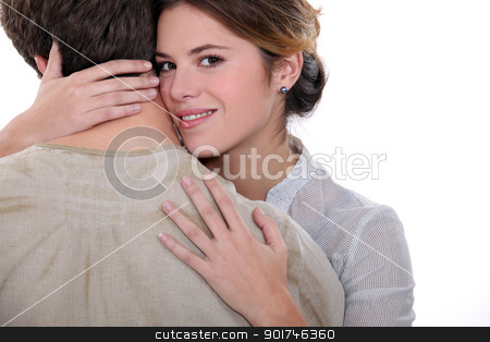 a woman hugging a man stock photo, a woman hugging a man by photography33