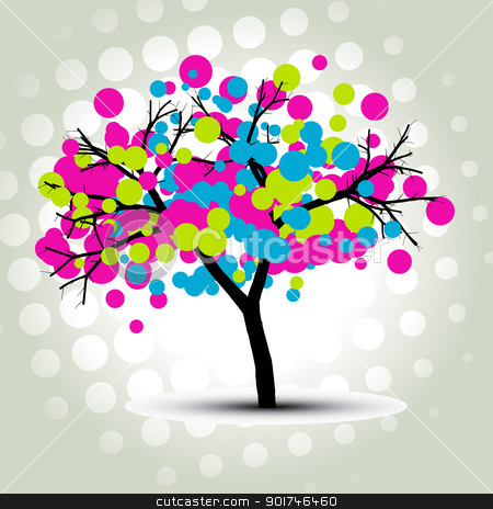 stylish vector tree stock vector clipart, stylish vector colorful circles tree by pinnacleanimates