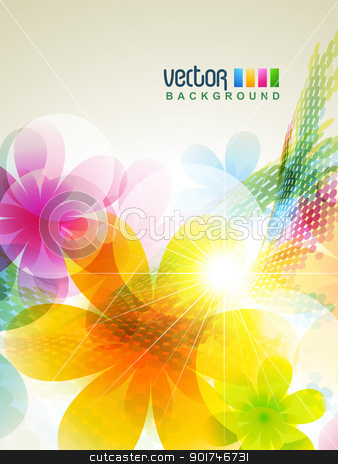 abstract flower stock vector clipart, beautiful colorful abstract flower artwork by pinnacleanimates