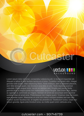 vector flower stock vector clipart, beautiful orange color flower design art by pinnacleanimates