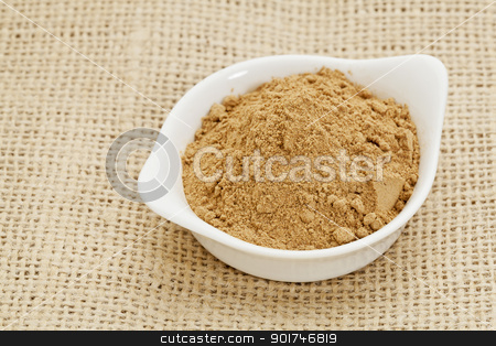 camu fruit powder rainforest superfruit stock photo, raw organic dried camu camu fruit powder (Myciara Dubia) in a small ceramic bowl - rainforest superfruit from Peru rich in vitamin C by Marek Uliasz