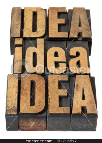 idea word abstract in wood type stock photo, idea word abstract - isolated text in vintage letterpress wood type by Marek Uliasz