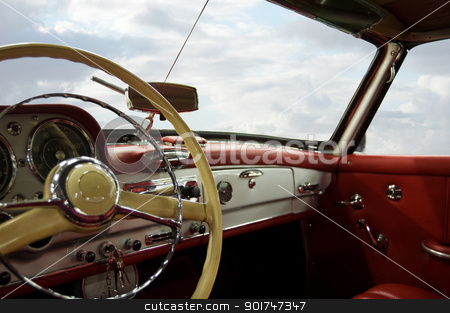 Classic Car Dashboard stock photo, Classic Car Red and White Dashboard (Windows Path Included) by simas2
