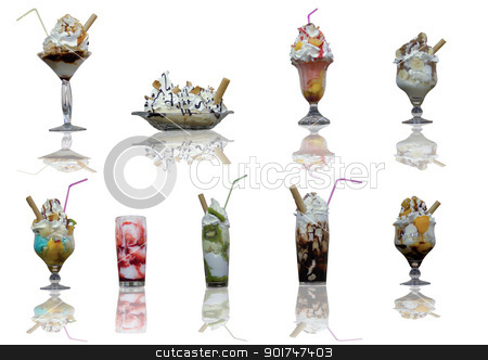 Ice Cream stock photo, Assorted ice cream cups with reflection on with background by simas2