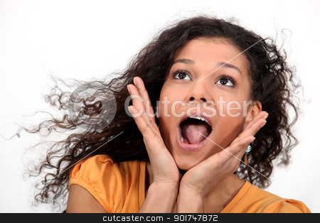 A cute African American woman screaming. stock photo, A cute African American woman screaming. by photography33
