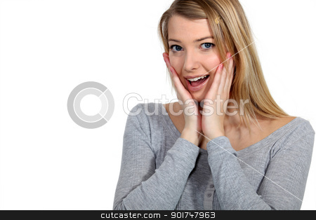 Shocked blond woman stock photo, Shocked blond woman by photography33
