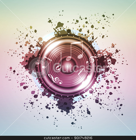 Image of music speaker stock photo, Image of music speaker against colourful background by Sergey Nivens