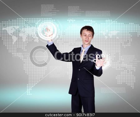 Virtual technology in business stock photo, Business person working with modern virtual technology by Sergey Nivens