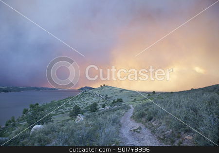 sky and the sun obsured by wildfire smoke stock photo, heavy smoke from High Park wildfire obscuring the sun and sky over Horsetooth Reservoir and foothills near Fort Collins, Colorado by Marek Uliasz