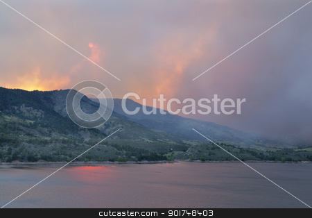 sky obsured by wildfire smoke stock photo, heavy smoke from High Park wildfire obscuring the sun and sky over Horsetooth Reservoir and foothills near Fort Collins, Colorado by Marek Uliasz