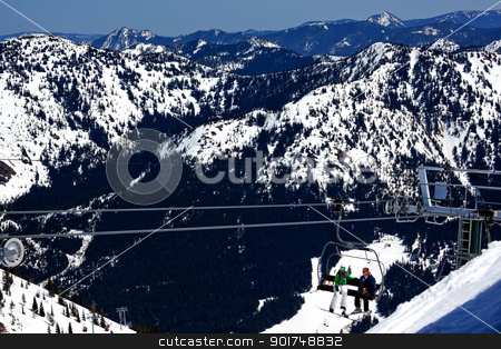 Sking Chairlift Snow Ridges Crystal Mountain stock photo, Sking Chairlift Snowy Ridge Lines Crystal Mountain Rocks Snow Trees by William Perry