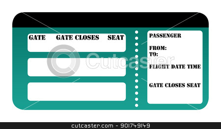 Blank boarding pass stock photo, Blank boarding pass isolated on white background. by Martin Crowdy