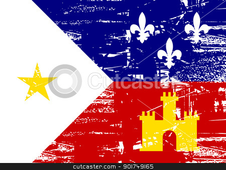 Acadiana flag stock photo, Flag of Acadiana city in the U.S.A, grunge effect.  by Martin Crowdy