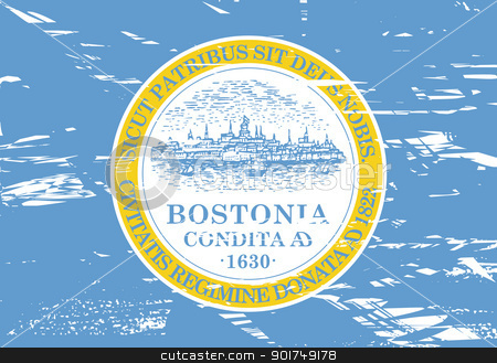 Boston city flag stock photo, City flag of Boston city in the U.S.A, grunge effect.  by Martin Crowdy