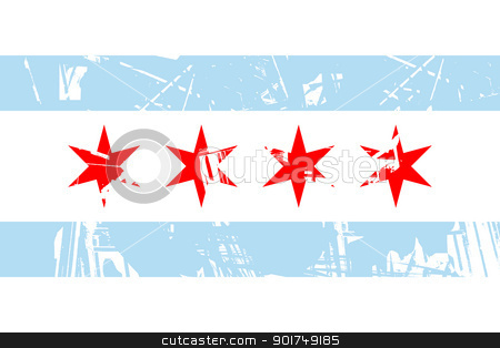 Chicago flag stock photo, Chicago city flag, state of Louisiana, U.S.A, grunge effect.  by Martin Crowdy