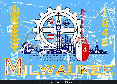 Milwaukee flag stock photo, Flag of Millwaukee city in the U.S.A  by Martin Crowdy