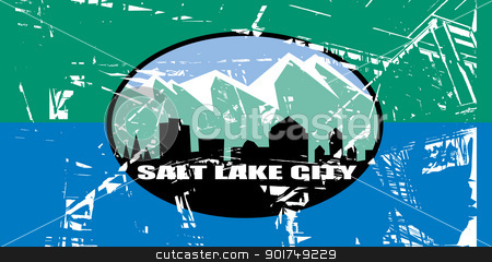 Salt Lake city flag stock photo, City flag of Salt Lake city in the U.S.A.  by Martin Crowdy