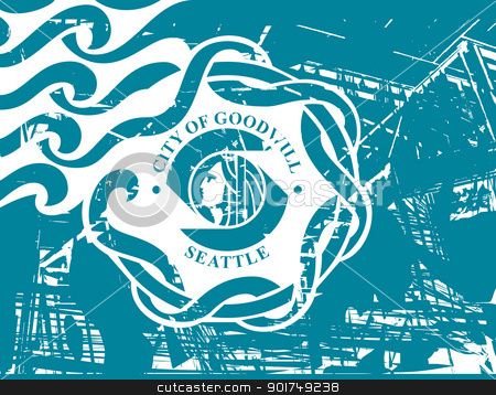 Seattle city flag stock photo, City flag of Seattle city in the U.S.A.  by Martin Crowdy