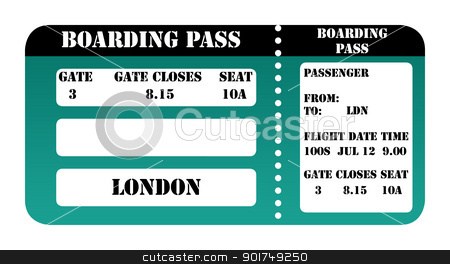 London 2012 boarding pass stock photo, London 2012 boarding pass isolated on white background. by Martin Crowdy
