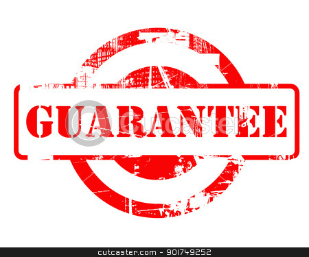 Guarantee red stamp stock photo, Guarantee red stamp with copy space isolated on white background. by Martin Crowdy