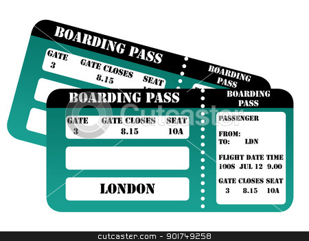London 2012 boarding passes stock photo, London 2012 boarding pass isolated on white background. by Martin Crowdy