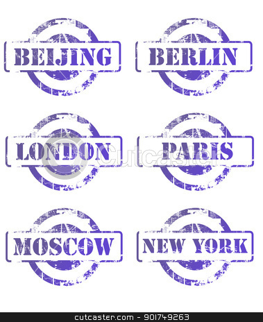 Major city passsport stamps stock photo, Major city passsport stamps isolated on white background. by Martin Crowdy