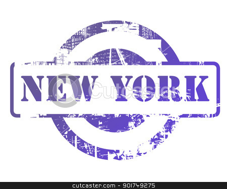New York stamp stock photo, New York stamp with copy space isolated on white background. by Martin Crowdy