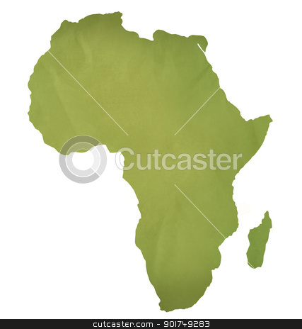 Old green paper map of Africa stock photo, Old green paper map of African continent isolated on white. by Martin Crowdy
