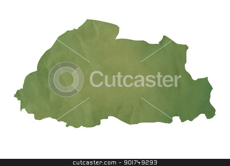 Old green map of Bhutan stock photo, Old green map of Bhutan in textured green paper, isolated on white background. by Martin Crowdy